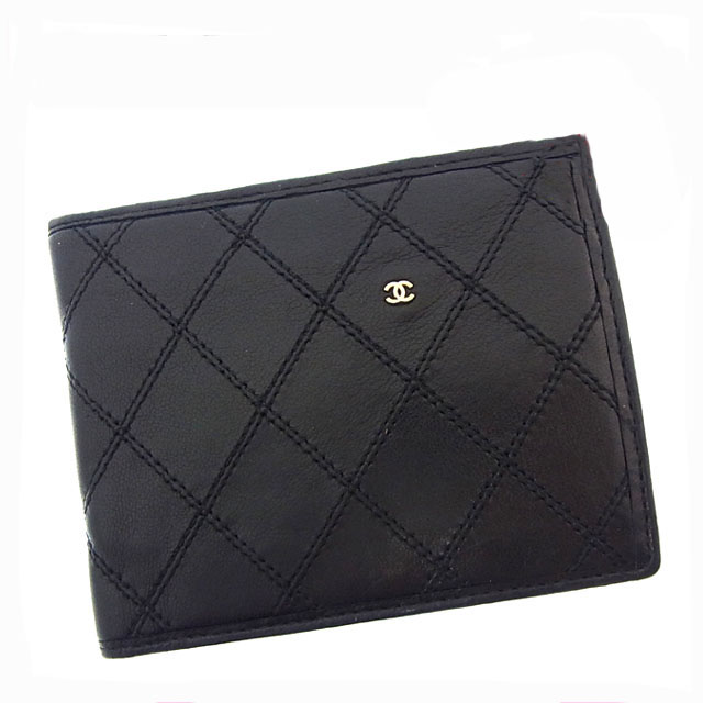 090df0927b4177 Image is loading Chanel-Wallet-Purse-Bifold-Black-Gold-Woman-Authentic-
