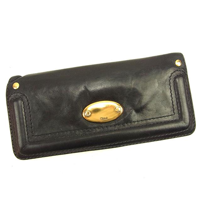 5639c8a5c683 Chloe Wallet Purse Long Wallet Black Woman unisex Authentic Used ...